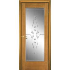 Межкомнатная дверь Мебель-Массив Капри Африканский орех без патины полотно с остеклением витраж пескоструй