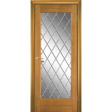Межкомнатная дверь Мебель-Массив Капри Африканский орех без патины полотно с остеклением витраж