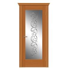 Межкомнатная дверь Мебель-Массив Капри Африканский орех без патины полотно с остеклением витраж заливной