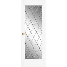 Межкомнатная дверь Мебель-Массив Капри Эмаль белая патина полотно с остеклением витраж