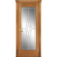 Межкомнатная дверь Мебель-Массив Капри Светлый дуб без патиный полотно с остеклением витраж пескоструй