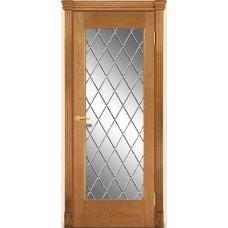 Межкомнатная дверь Мебель-Массив Капри Светлый дуб без патиный полотно с остеклением витраж