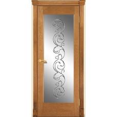 Межкомнатная дверь Мебель-Массив Капри Светлый дуб без патиный полотно с остеклением витраж заливной