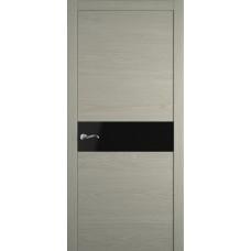 Межкомнатная дверь Мебель-Массив Кремона Эмаль RAL 7044 полотно с остеклением (стекло черное)