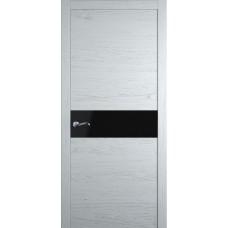 Межкомнатная дверь Мебель-Массив Кремона Эмаль белая на дубе полотно с остеклением (стекло черное)