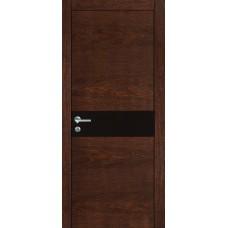 Межкомнатная дверь Мебель-Массив Кремона Коньячный дуб полотно с остеклением (стекло черное)