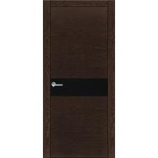 Межкомнатная дверь Мебель-Массив Кремона Темный дуб полотно с остеклением (стекло черное)