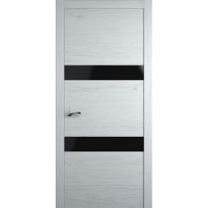 Межкомнатная дверь Мебель-Массив Кремона 2 Эмаль белая на дубе полотно с остеклением (стекло черное)