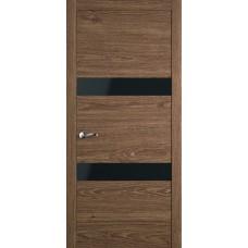 Межкомнатная дверь Мебель-Массив Кремона 2 Табак дуб полотно с остеклением (стекло черное)
