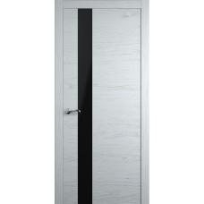 Межкомнатная дверь Мебель-Массив Кремона 3 Эмаль белая на дубе полотно с остеклением (стекло черное)