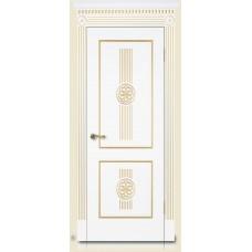 Межкомнатная дверь Мебель-Массив Мадрид 1 Эмаль слоновая кость золотая патина полотно глухое