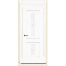 Межкомнатная дверь Мебель-Массив Мадрид 1 Эмаль белая золотая патина полотно глухое