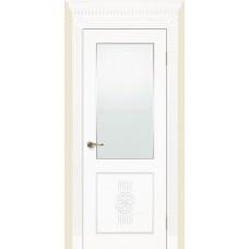 Межкомнатная дверь Мебель-Массив Мадрид 1 Эмаль белая золотая патина полотно с остеклением