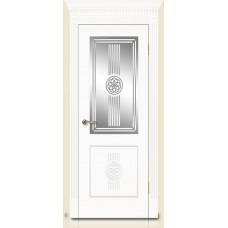 Межкомнатная дверь Мебель-Массив Мадрид 1 Эмаль белая золотая патина полотно с остеклением витраж