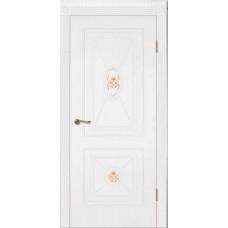 Межкомнатная дверь Мебель-Массив Мадрид 2 Эмаль белая без патины роспись 1 сторона полотно глухое