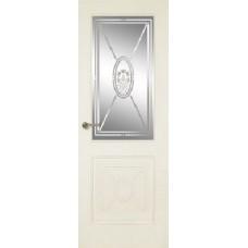 Межкомнатная дверь Мебель-Массив Мадрид 2 Эмаль слоновая кость без патины полотно с остеклением витраж