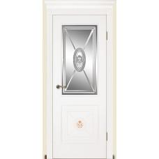 Межкомнатная дверь Мебель-Массив Мадрид 2 Эмаль белая без патины роспись 1 сторона полотно с остеклением витраж