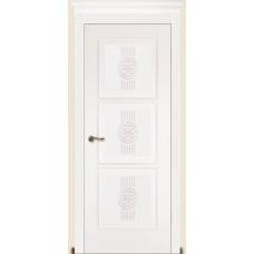 Межкомнатная дверь Мебель-Массив Мадрид 3 Эмаль белая золотая патина полотно глухое