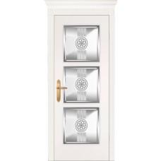 Межкомнатная дверь Мебель-Массив Мадрид 3 Эмаль белая без патины полотно с остеклением витраж