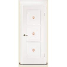 Межкомнатная дверь Мебель-Массив Мадрид 4 Эмаль белая золотая патина полотно глухое