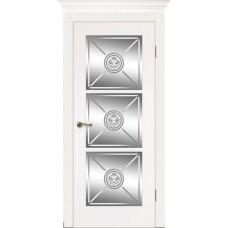 Межкомнатная дверь Мебель-Массив Мадрид 4 Эмаль белая без патины роспись 1 сторона полотно с остеклением витраж