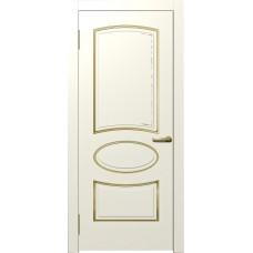Межкомнатная дверь Мебель-Массив Милан Эмаль слоновая кость золотая патина полотно глухое