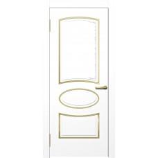 Межкомнатная дверь Мебель-Массив Милан Эмаль белая золотая патина полотно глухое