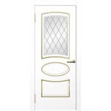 Межкомнатная дверь Мебель-Массив Милан Эмаль белая золотая патина полотно с остеклением