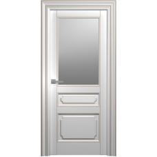 Межкомнатная дверь Мебель-Массив Палермо 4 Эмаль RAL 9010 коричневая патина полотно с остеклением