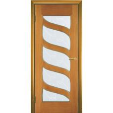 Межкомнатная дверь Мебель-Массив Парма Африканский орех без патины полотно с остеклением витраж с гравировкой