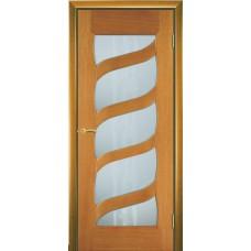 Межкомнатная дверь Мебель-Массив Парма Африканский орех без патины полотно с остеклением витраж пескоструй