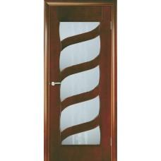 Межкомнатная дверь Мебель-Массив Парма Миланский орех без патины полотно с остеклением витраж пескоструй