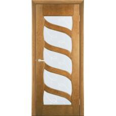 Межкомнатная дверь Мебель-Массив Парма Светлый дуб без патины полотно с остеклением витраж с гравировкой