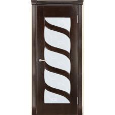 Межкомнатная дверь Мебель-Массив Парма Темный дуб без патины полотно с остеклением витраж с гравировкой