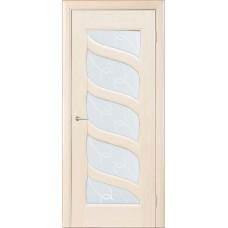 Межкомнатная дверь Мебель-Массив Парма Белый дуб без патины полотно с остеклением витраж с гравировкой