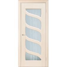 Межкомнатная дверь Мебель-Массив Парма Эмаль белая патина полотно с остеклением витраж пескоструй