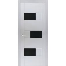 Межкомнатная дверь Мебель-Массив Призма Эмаль белая полотно с остеклением (стекло черное)