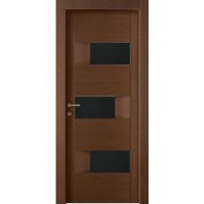 Межкомнатная дверь Мебель-Массив Призма Коньячный дуб полотно с остеклением (стекло черное)