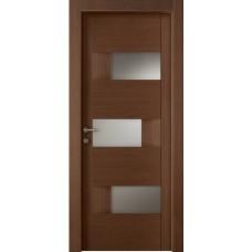 Межкомнатная дверь Мебель-Массив Призма Коньячный дуб полотно с остеклением (стекло матовое)