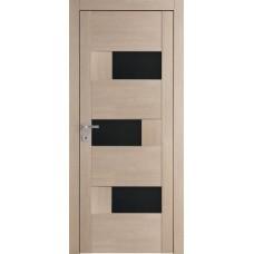 Межкомнатная дверь Мебель-Массив Призма Пепельный дуб полотно с остеклением (стекло черное)