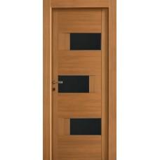 Межкомнатная дверь Мебель-Массив Призма Светлый дуб полотно с остеклением (стекло черное)