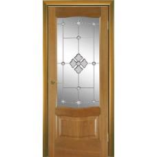 Межкомнатная дверь Мебель-Массив Севилья Африканский орех без патины полотно с остеклением витраж с гравировкой