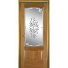Межкомнатная дверь Мебель-Массив Севилья Африканский орех без патины полотно с остеклением витраж заливной