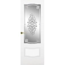Межкомнатная дверь Мебель-Массив Севилья Эмаль белая патина полотно с остеклением витраж заливной