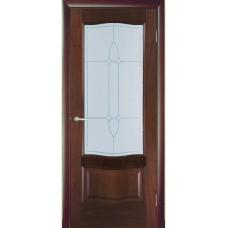 Межкомнатная дверь Мебель-Массив Севилья Красное дерево без патины полотно с остеклением