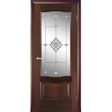 Межкомнатная дверь Мебель-Массив Севилья Красное дерево без патины полотно с остеклением витраж с гравировкой