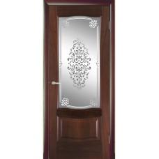 Межкомнатная дверь Мебель-Массив Севилья Красное дерево без патины полотно с остеклением витраж заливной
