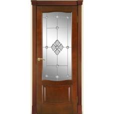 Межкомнатная дверь Мебель-Массив Севилья Миланский орех без патины полотно с остеклением витраж с гравировкой