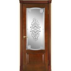 Межкомнатная дверь Мебель-Массив Севилья Миланский орех без патины полотно с остеклением витраж заливной