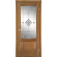 Межкомнатная дверь Мебель-Массив Севилья Светлый дуб без патины полотно с остеклением витраж с гравировкой